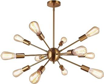 ENCOFT Sputnik Suspension Moderne 12 Lumières E27 Base, Lustre Luminaire en Métal Lampe pour Chambre Cuisine Salle à Manger Restaurant, Or Sans