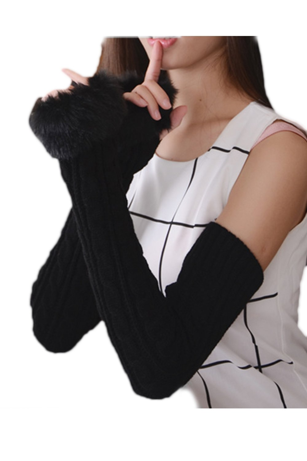 YACUN Women's Winter Cold Weather Knit Fingerless Long Arm Warmer Gloves Coffee F CADT001Coffee_F