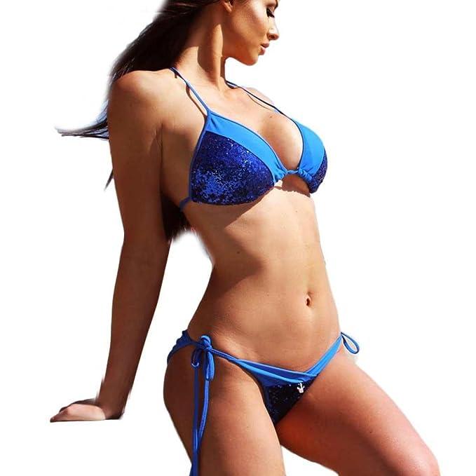 DEELIN Conjunto De Bikini De Lentejuelas De Moda Sexy Mujer Espesar Sujetador Traje De BañO Traje