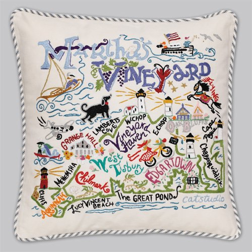 Catstudio Martha's Vineyard Pillow - Geography Collection Home Décor 077(CS) by Catstudio Embroidered Pillow
