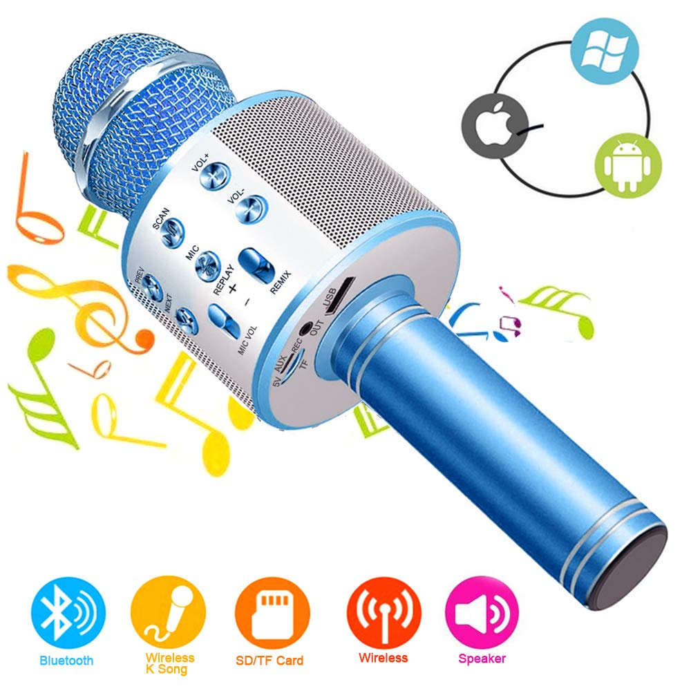 Wireless Bluetooth Karaoke Microphone Machine,Portable Handheld Karaoke Bluetooth Handheld Karaoke Speaker Player Machine for Kids Adults Home KTV Party for Android/Iphone/Ipad/Pc Girl Boy (Blue) by XIANRUI