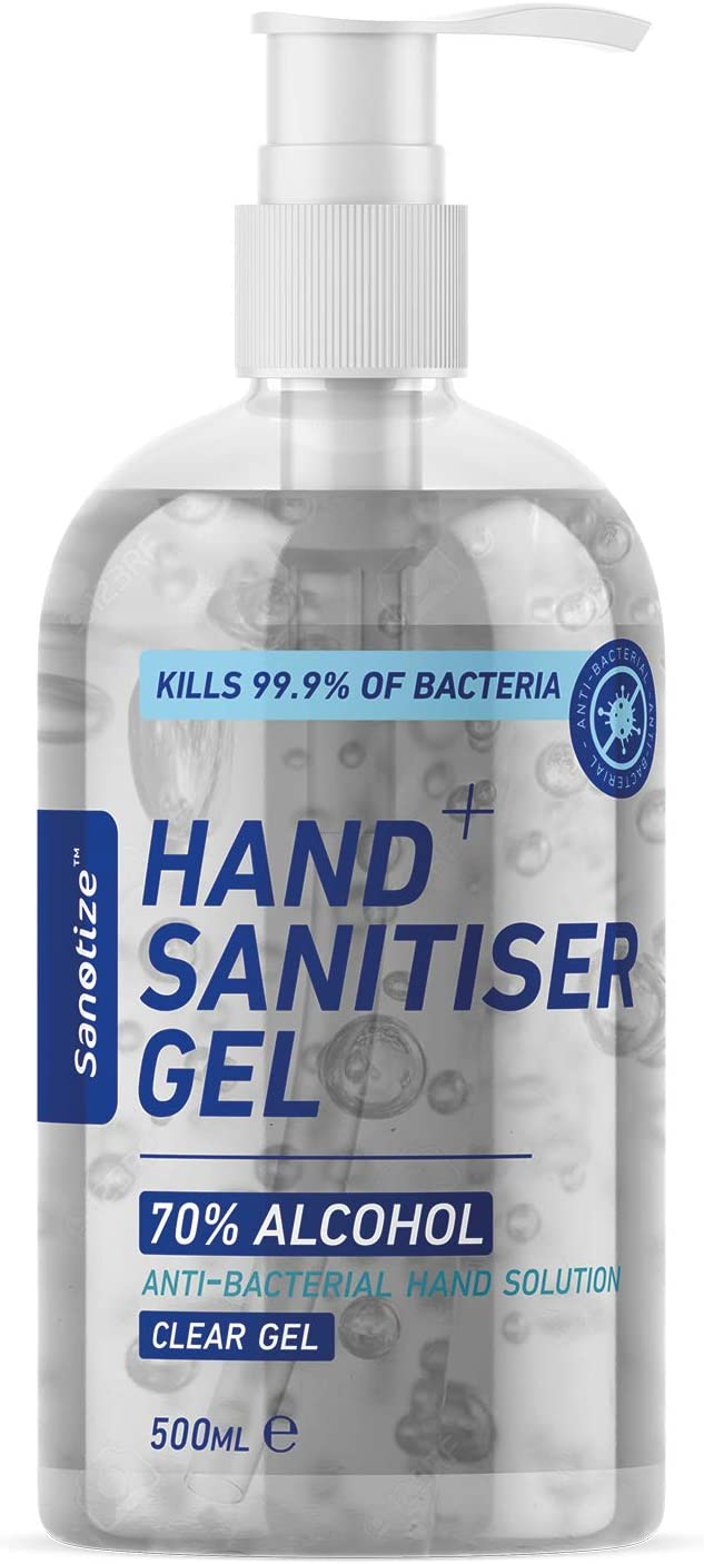 Sanotize Hand Sanitiser Gel - 70% Alcohol - 500ml Pump Bottle - Antibacterial - Kills 99.9% Bacteria