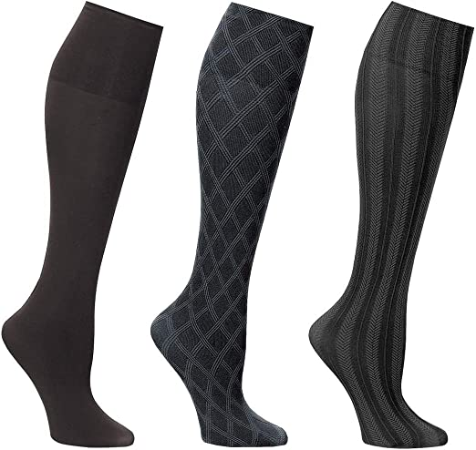 Amazon.com: Women's Wide Calf Solid & Patterned Trouser Socks 3 Pack, Fits  up to 22