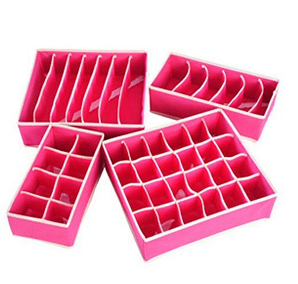 Doitsa Foldable Home Storage Box Set 4 Pcs, Drawer Organiser for Underwear Bra Separators, Pink Red