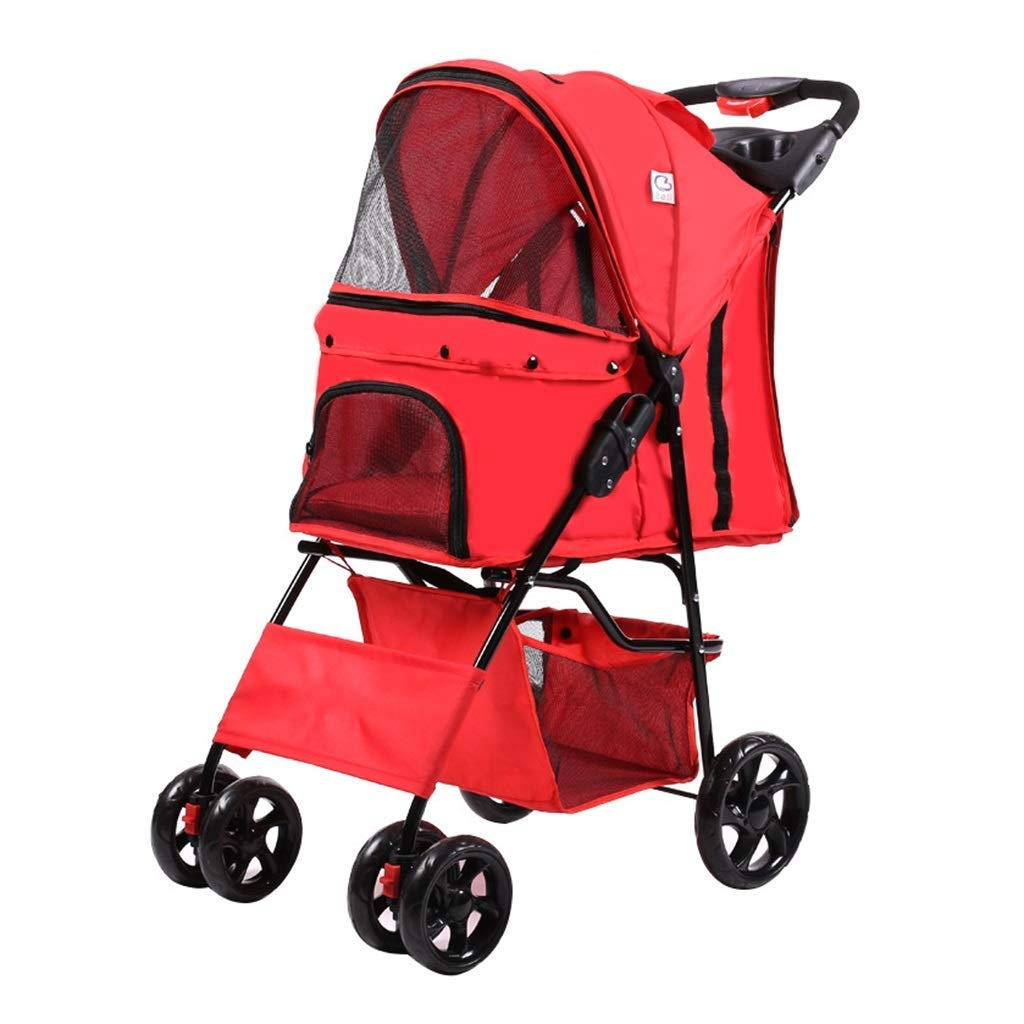B CCQQ Pet Stroller Stroller Go Out Convenient Can Fold Trolley Damping Safety Oversized Basket Shopping For Convenience Brake