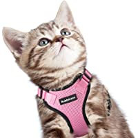 Cat Harness, Escape Proof Small Dog Vest Harness, Adjustable Soft Mesh Kitty Harness for All Weather Walking, Padded Vest with Metal Leash Clip for Small Pets Puppies Kittens Rabbits, Pink