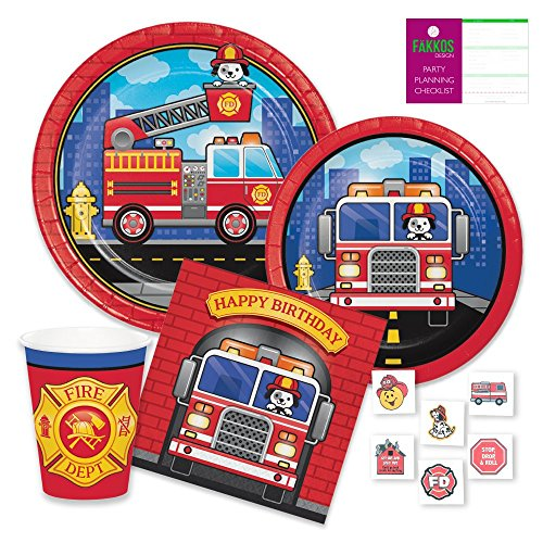 Fire Fighter Birthday Party Supplies for 16 Guests - Paper Plates, Napkins, Plastic Forks, (Fire Truck Plate)
