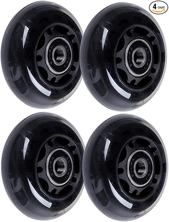 AOWISH 4-Pack Inline Skate Wheels Outdoor Asphalt Formula 85A Blades Roller Skates Replacement Wheels with Speed Bearings ABEC-9 and Spacers