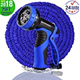Garden Hose, Newest 75 FT Expandable Heavy Double Latex Flexible Hose - 9-Pattern High Pressure Water Spray Nozzle. Suitable for Wash Cars, Clean Walls, Watering Lawns and Garden Plants, etc.