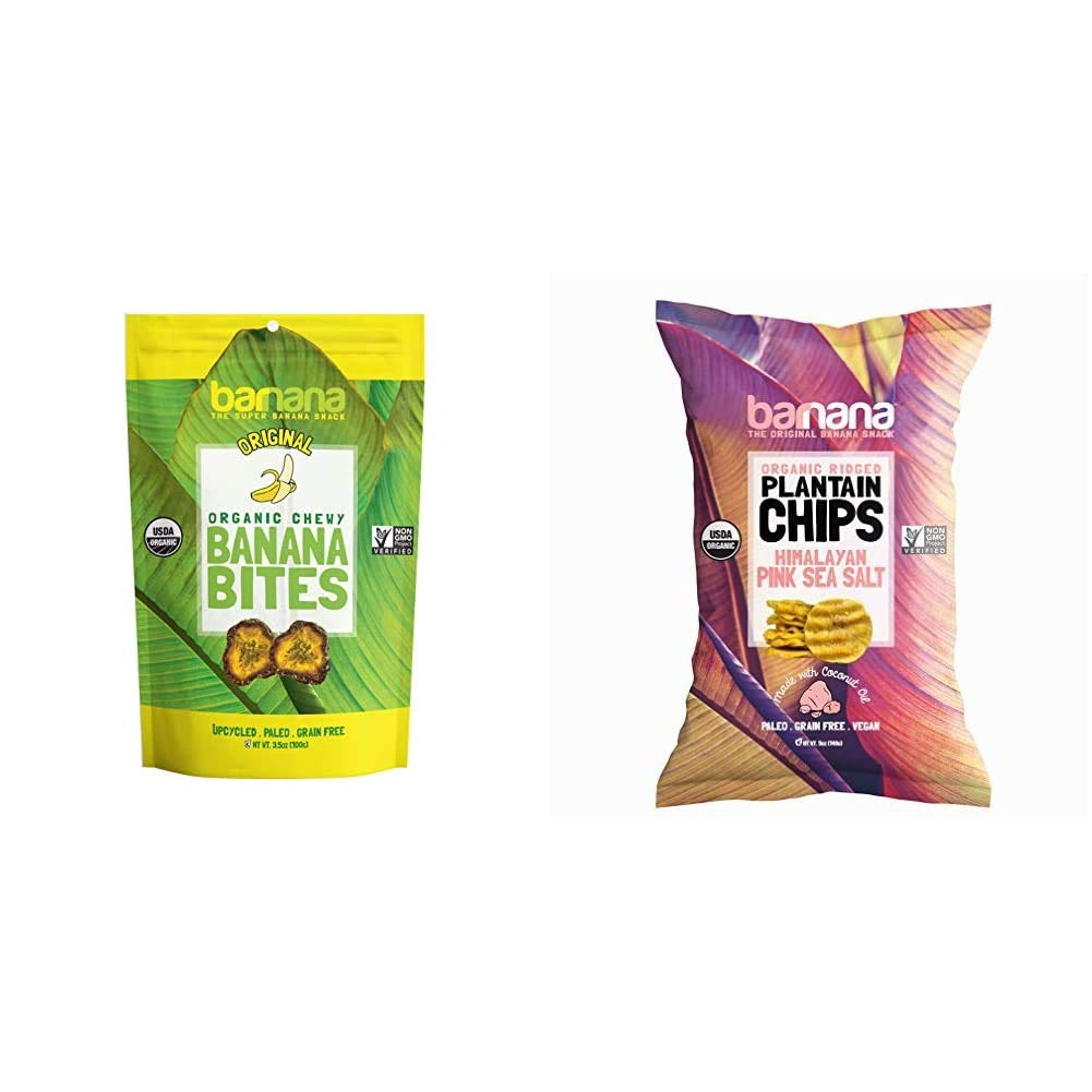 Barnana Organic Chewy Banana Bites, Original, 3.5 Ounce (Pack of 1) - Packaging May Vary & Organic Plantain Chips - Himalayan Pink Salt - 5 Ounce - Barnana Salty, Crunchy, Thick Sliced Snack