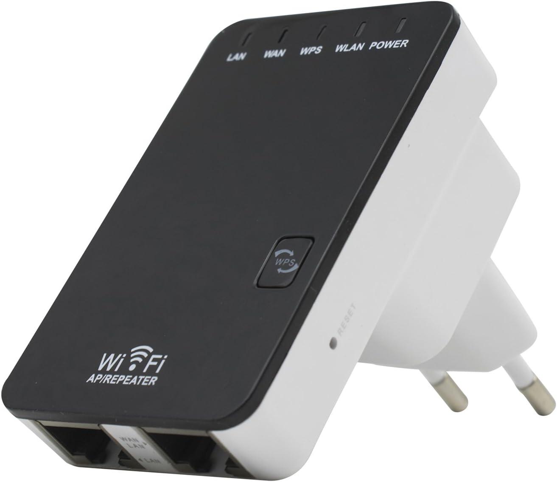 SODIAL 300M Repetidor de senal inalambrica Amplificador de senal inalambrico WiFi Mini Puerto de Red Doble de retransmision inalambrica Enchufe de la UE
