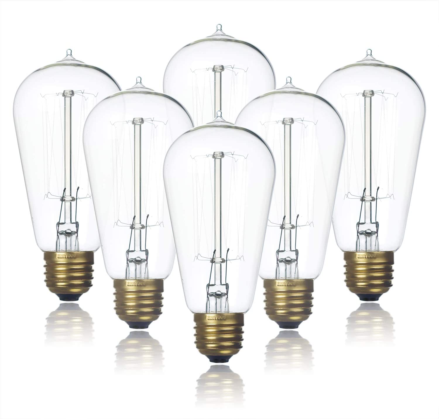 6-Pack Edison Light Bulb, Clear Glass Warm White Old Fashioned Incandescent Light, Jslinter 60 Watt Dimmable ST58 Antique Vintage Style Light, e26 Base(60w/110v)