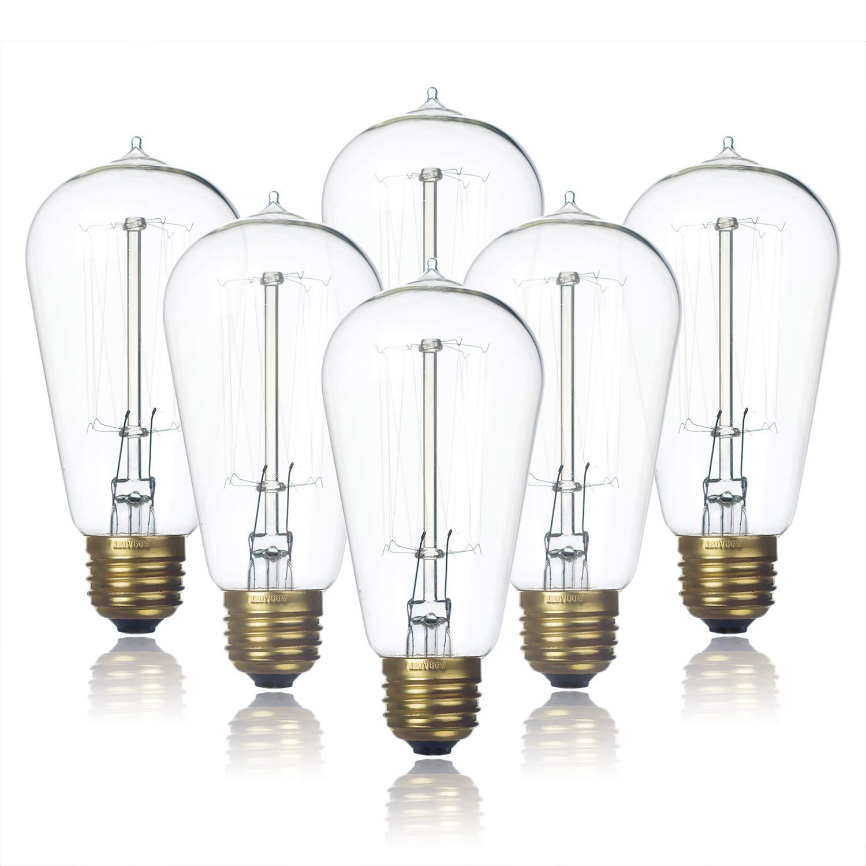 6-Pack Edison Light Bulb, Clear Glass Warm Light, Jslinter 60 Watt Dimmable ST58 Antique Vintage Style Light, e26 Base(60w/110v)