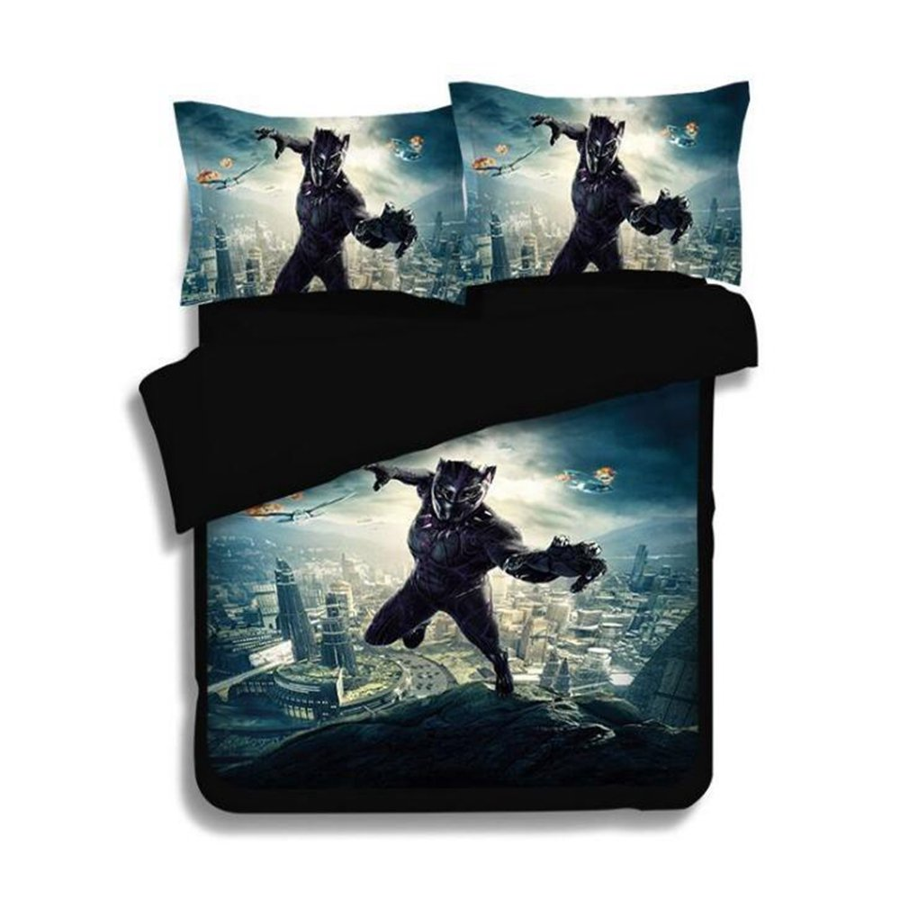 Imcneal 3Pcs Black Panther 3D Bedding Sets Fashion Bed Sheets Queen Sizes