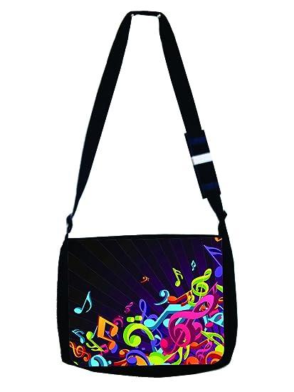347fcc8ff6c6 Colorful Musical Clef Music Design - Girls Boys Black Multi-Purpose Laptop  Shoulder Messenger