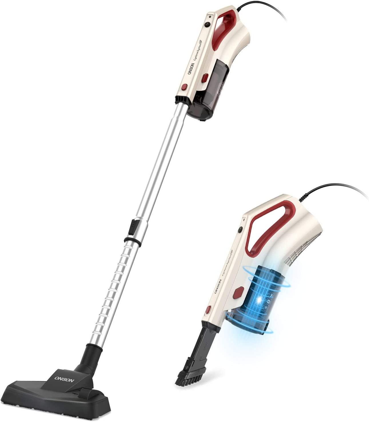 ONSON Vacuum Cleaner Corded, 16KPa Powerful Suction Stick Vacuum, 2 in 1 Handheld Vacuum Lightweight for Hardwood Floor