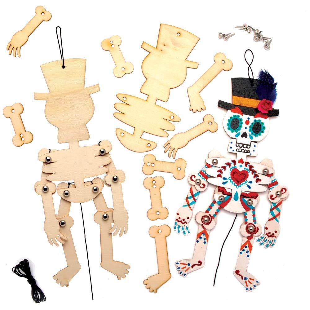 Baker Ross AT108 Kit de marionetas Skellington Marionetas artesanales de Halloween Día de los Muertos (paquete de 4)
