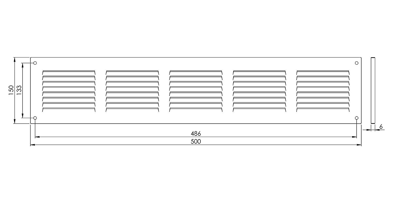 Grille da/ération en acier 500 x 150mm Galvanis/é avec moustiquaire Grille de ventilation metallique