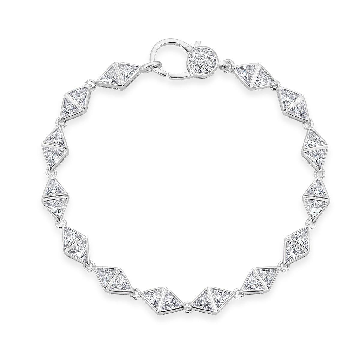 Platinum Plated Sterling Silver Cubic Zirconia Bling Bracelet