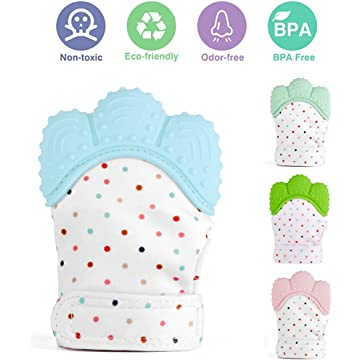 Baby Teething Mittens, Food-Grade Silicone Baby Teether,BPA-Free Mitten Teething Glove,Self-Soothing Pain Relief Mitt Baby Teether Toys for 0–12 Months Infants,Blue