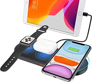 Fast Wireless Charger, 4 in 1 Wireless Charging Station Qi Wireless Charging Pad for Airpods and iPhone, Wireless Charger Dock Stand Compatibility with Apple Watch Series 5/4/3/2/1(No Include Adapter)