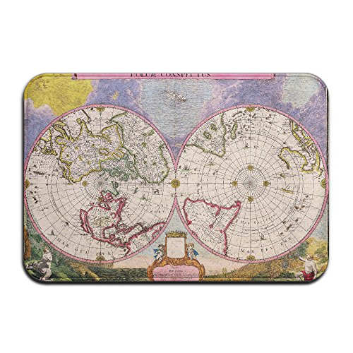 Embroidered Pique Sham (Sun & Moon World Map Non Slip Washable Cozy Durable Doormat For Living Room Bedroom (23.6