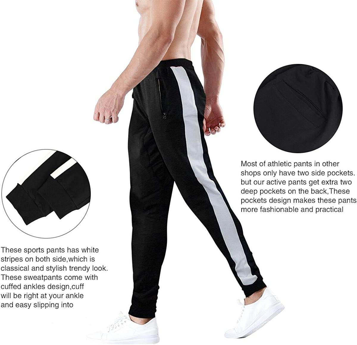 2020 Mens Sweatpants Casual Sport Pants Pockets Running Training Trousers Gym