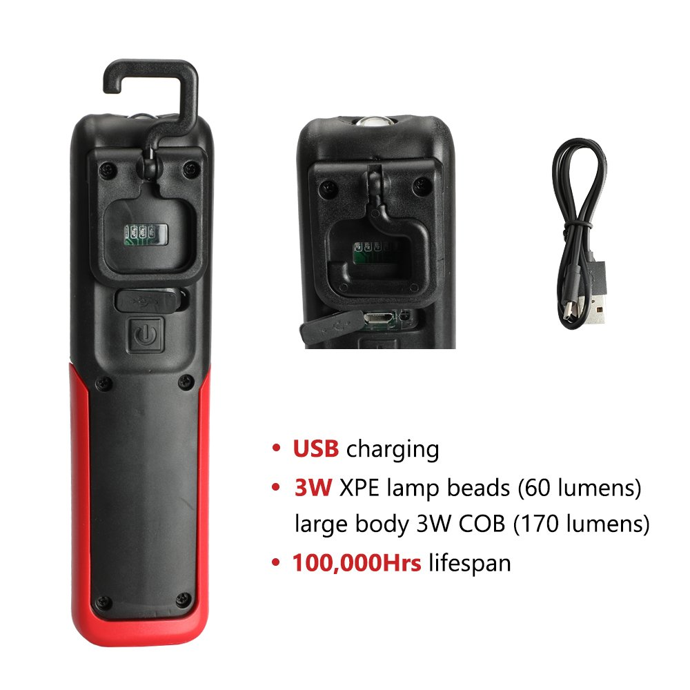 Three trees LED Cordless Work Light COB Rechargeable Portable Hand Held Work Lamp With Hanging Hook, Magnetic Holders, 1200mAh Charging, Multifunction Flashlight (red)