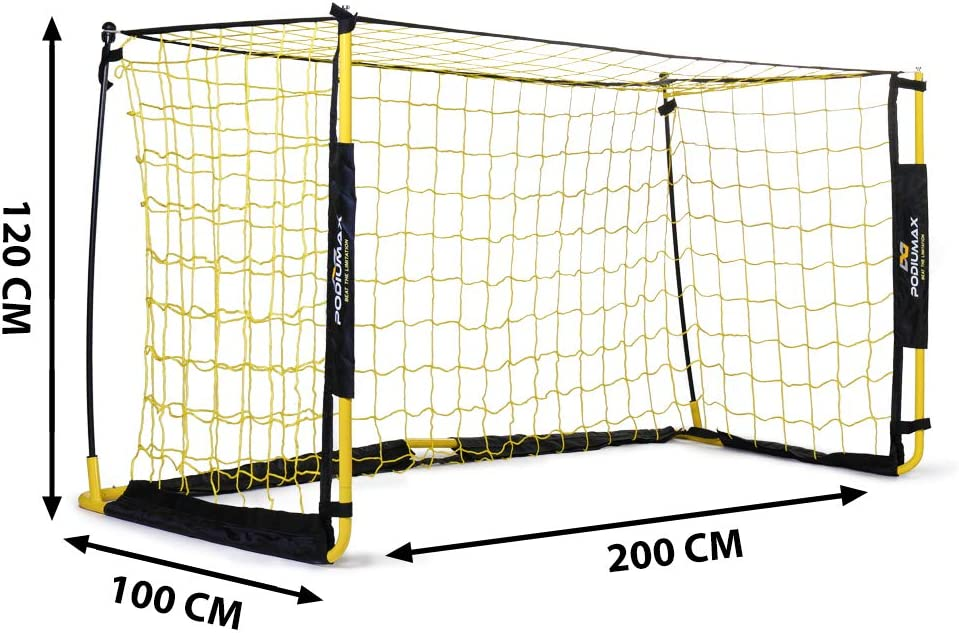 2 x 1 m Perfect for Scrimmage Game Mini Practice Goal for Garden//Indoor//Outdoor//Camping Team Games PodiuMax Ultra Portable Football Goal includes Football Net and Carry Bag