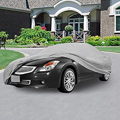 "NEH SUPERIOR TRUE 100% WATERPROOF CAR COVER COVERS MID SIZE SEDAN - ALL SEASON PROTECTION - GRAY COLOR - 3x PILLOW SOFT INNER COTTON LAYER (FITS LENGTH 190"" - 210"")"
