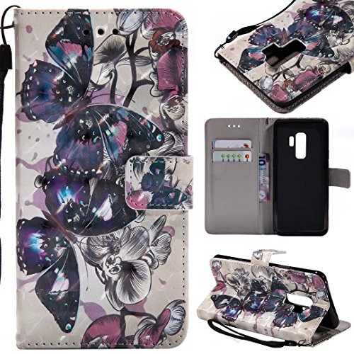 Samsung Galaxy S9Plus móvil, cowx Teléfono Móvil para Samsung Galaxy S9Plus Carcasa Piel Flip Case Cartera Funda Carcasa para Samsung S9Plus Funda Cover mariposa (Negro)