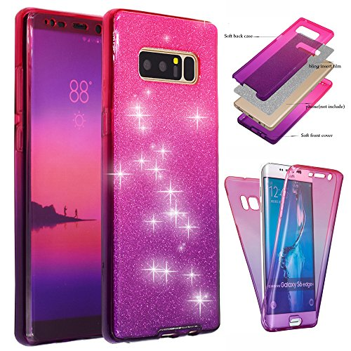 Galaxy Note 8 Case, BestAlice Front + Back 360 Degree Slim Fit Full Coverage Protective Soft Ombre Clear Crystal Gel TPU Case, Pink & Purple & Silver Bling Glitter Film