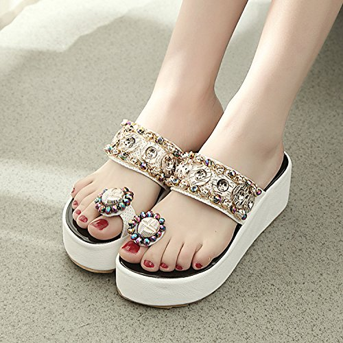 Qingchunhuangtang alto spiaggia Cool scarpe da pendenza sandali Bianco fondo spesso tacco pantofole con qx1rqAB4w