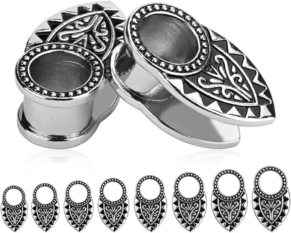 TBOSEN 2pcs Silver /& Black Tribal Ear Tunnels Aztec Plugs Stainless Steel Gauges Earrings Piercings