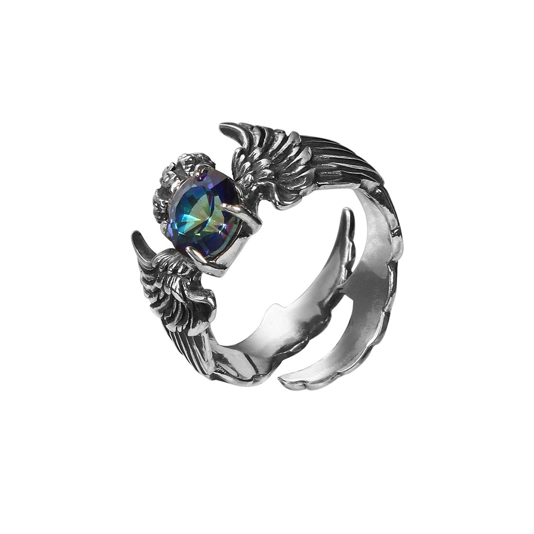 Rock&Ride S925 Handmade Vintage Rings Colorful Crystal Heart Wings Rings
