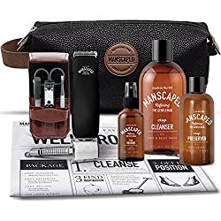 Mens Grooming Kit Includes: Manscaping Trimmer, Ball Deodorant, All-in-one body wash, Performance Spray-on-body Toner, Double Edged Straight Razor, five piece Nail Kit, Luxury toilet bag, shaving mats