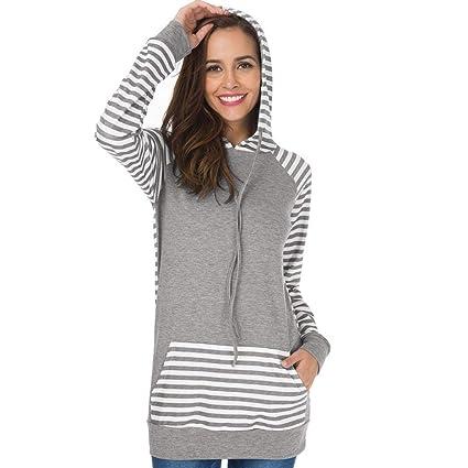 0deb1c86dd5 Amazon.com  Promotion!❤️Womens Hooded Tops Fashion Slim Stripe ...