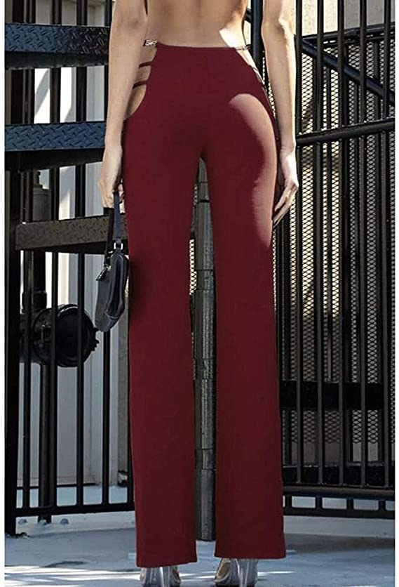 Pantalones de mujer de talle alto y cintura alta, con tirantes ...
