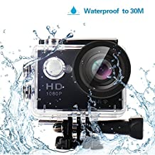 """Yuntab HD 1080P 30fps 12 Mega Pixels H.264 Sport Mini DV Action Camera 2.0"""" LCD 170° Wide Angle Lens 30M Waterproof WiFi Remote Control Outdoor Sports Home Security DV/CAR DVR/Camera FPV supported,AV output supported"""