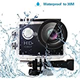 Yuntab HD 1080P 30fps 12 Mega Pixels Sport Mini DV Action Camera 2.0 LCD 170° Wide Angle Lens 30M Waterproof WiFi Remote Control Outdoor Sports (Black)