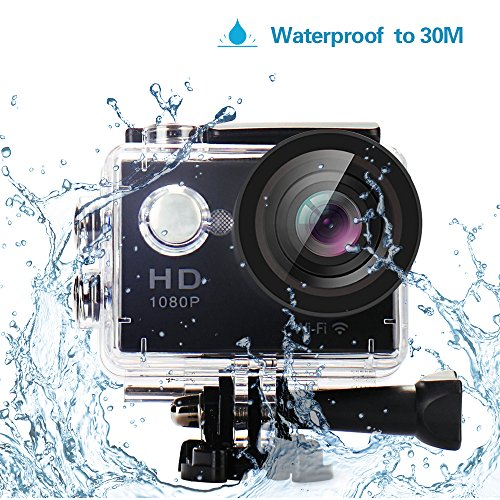 YUNTAB YUNTAB Sport Action Camera Vlog DV with WiFi, HD 1080P 30fps 12MP, 2.0 inch LCD 170 Degree Wide Angle Lens 30M Waterproof Remote Control (Black)