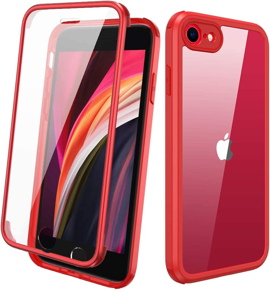 Diaclara iPhone SE 2020/iPhone 8 Case with Built-in Glass Screen Protector, Full-Body Protection Rugged Bumper Case, Anti-Scratch Slim Thin Case for iPhone SE 2nd Generation/iPhone 8 - Red
