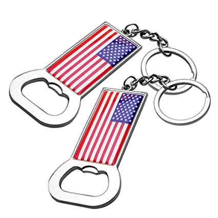 Lot of 2 US American Flag Bottle Opener USA Patriotic Gift Keychain
