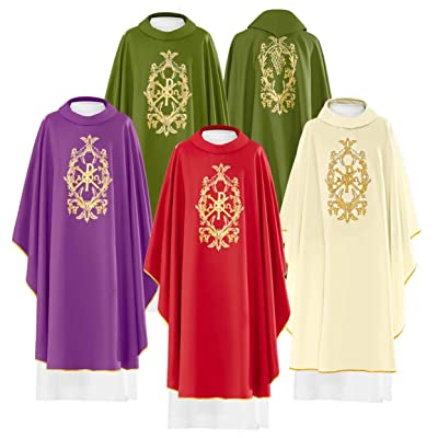 Buy Chasuble with Embroidered Chi Ro Symbol and Alpha & Omega Green Vestment  Online in Italy. B08CNN833R