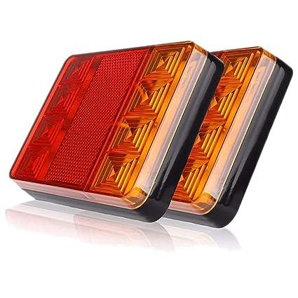 WASTUO 2PCS Impermeable 8 LED Piloto Trasero Rojo Amarillo Trasero ...