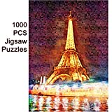 Wewinn 1000 PCS World Map Jigsaw Puzzles Intellectual Game for Adults and Kids Reduced Pressure Toy (B3 Eiffel Tower)
