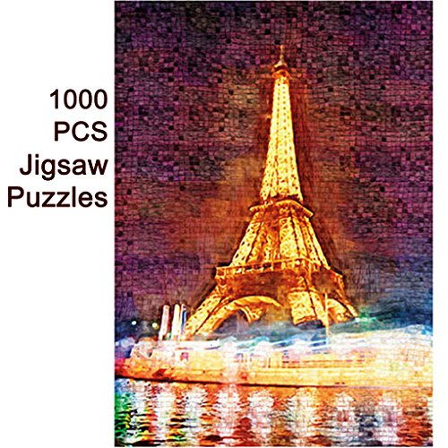 Wewinn 1000 PCS World Map Jigsaw Puzzles Intellectual Game for Adults and Kids Reduced Pressure Toy (B3 Eiffel Tower) by Wewinn