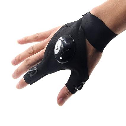 1X Fishing Glove Magic Strap Fingerless LED Flashlight Torch Waterproof Camping
