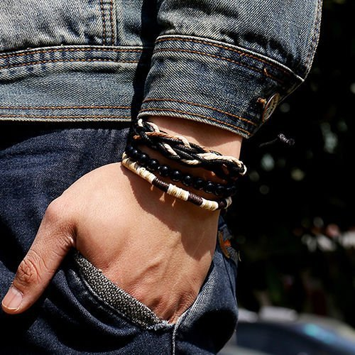 Men's 3Pcs Punk Style Bracelet Wood Beads Knitted Leather Wax Rope Cuff Popular