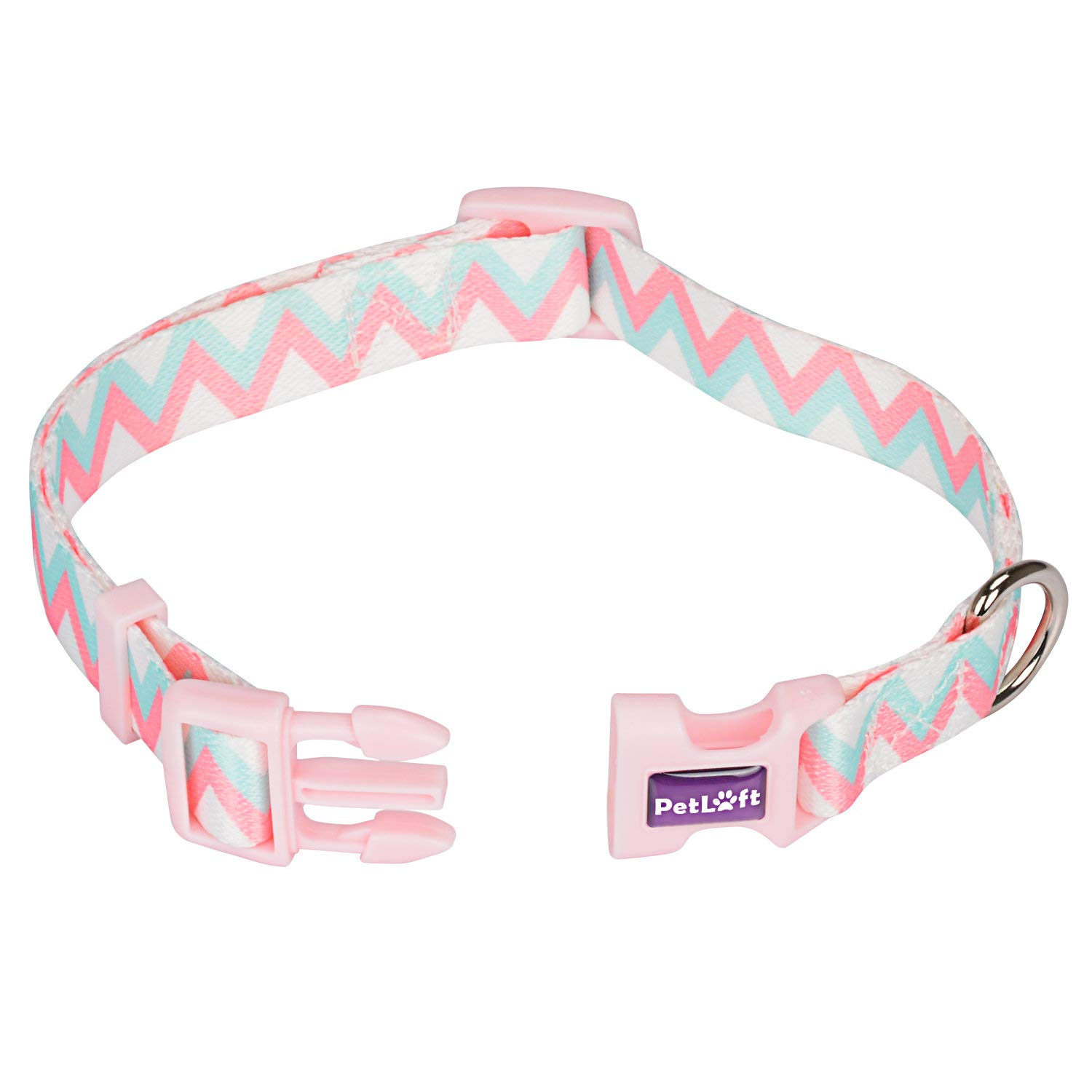PetLoft Dog Collar Special Designed Size Adjustable Polyester Surface Dog Collars Metal D-Ring Leash Attachment L, Pink